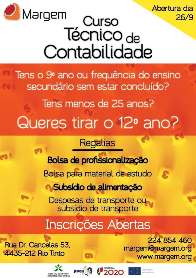 Curso de aprendizagem de Técnico de Contabilidade com equivalência ao 12º ano – Rio Tinto