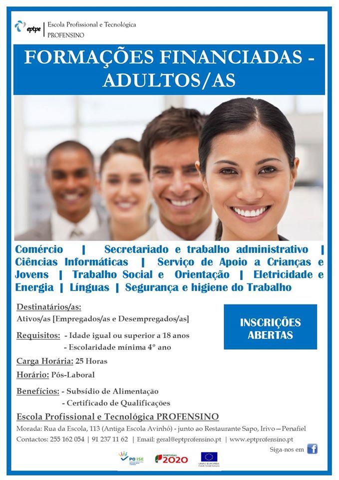 Formação financiada para adultos em Penafiel